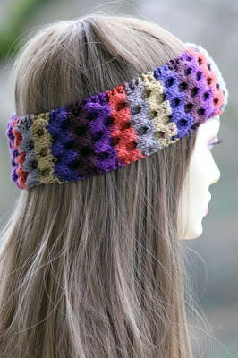 Knitting Pattern Headband With Flower : Flower Power Headband AllFreeKnitting.com