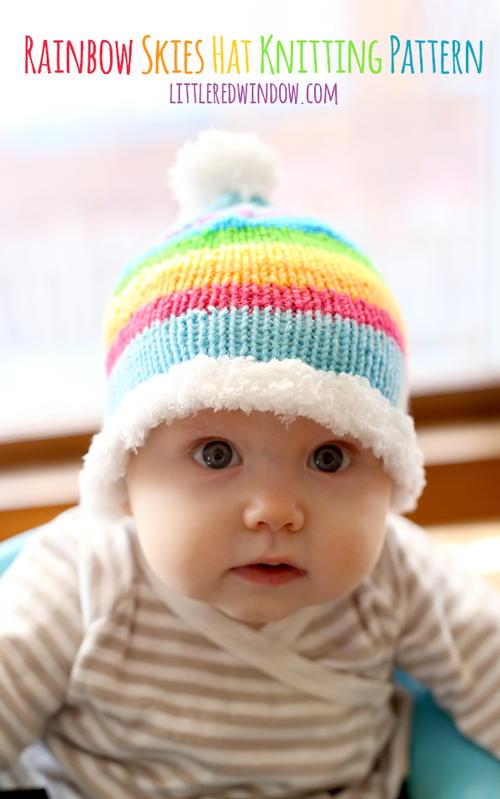 Knitting Patterns Rainbow Babies : Rainbow Skies Baby Hat AllFreeKnitting.com