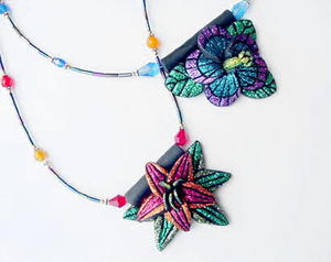 Glitter Flower Pendants