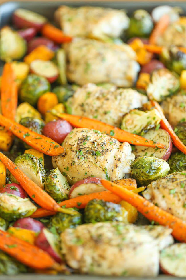 Roasted Chicken And Vegetable One Pan Meal Favesouthernrecipes Com