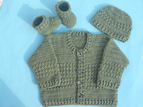 Crochet Patterns For Baby Clothes : Easy Crochet Baby Cardigan AllFreeCrochet.com
