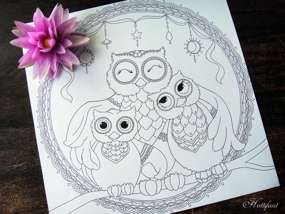 Owl Family Printable Coloring Page Favecrafts Com