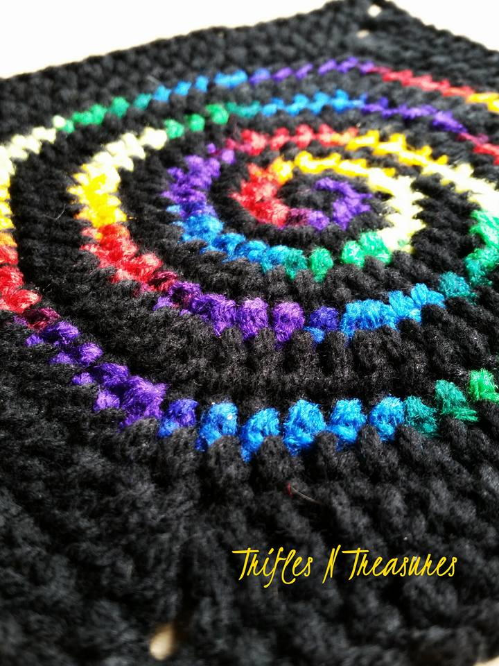 Stained Glass Spiral Crochet Granny Square
