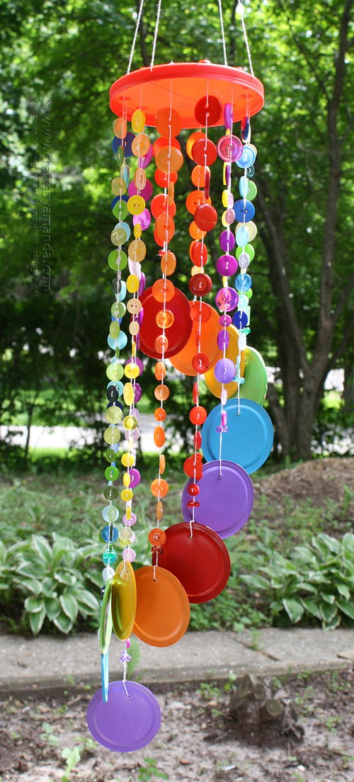 Rainbow button diy wind chime for Homemade wind chimes for kids