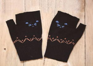 Kitty Fingerless Mittens Pattern