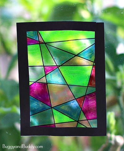 Crazy colorful butterfly craft for Butterfly stained glass craft