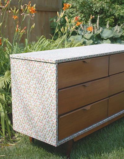 Fabric-Wrapped Repurposed Dresser