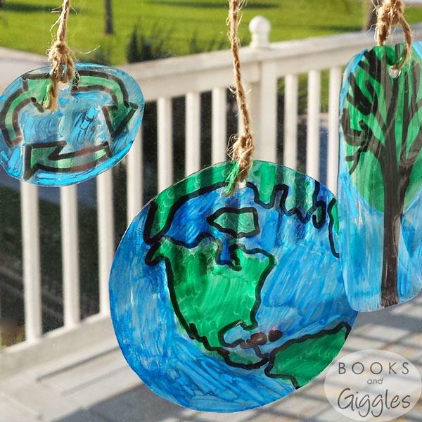 earth day upcycled diy suncatchers allfreekidscraftscom