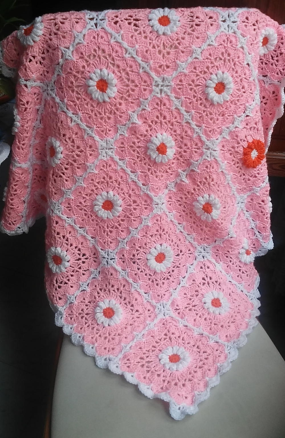 Pink Daisy Crocheted Baby Blanket   FaveCrafts.com