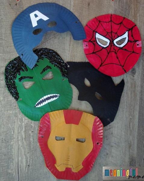 Superhero Paper Plate Masks AllFreeKidsCrafts