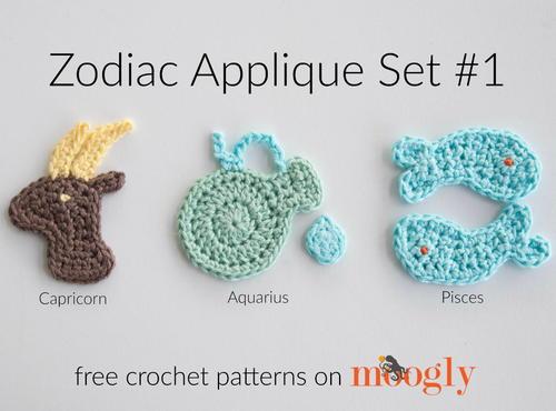 Crochet Patterns For Zodiac Signs : Zodiac Appliques: Capricorn, Aquarius, Pisces ...