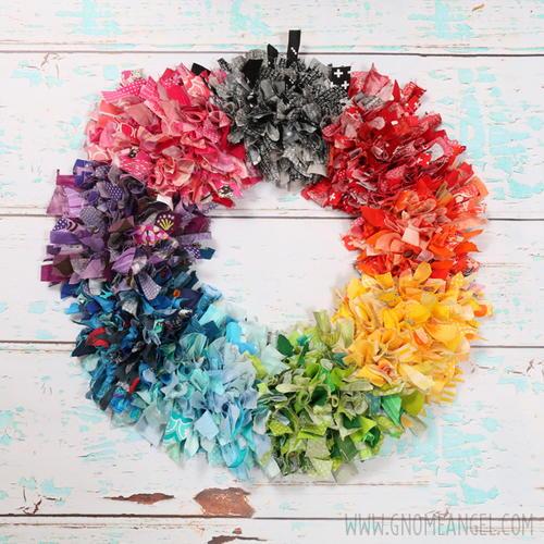 Diy Rainbow Fabric Scrap Rag Wreath Allfreesewing Com