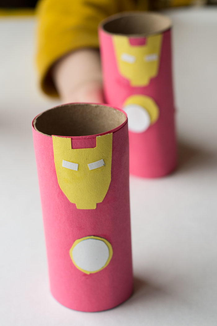 Iron man inspired paper tube craft for Fun crafts with toilet paper rolls