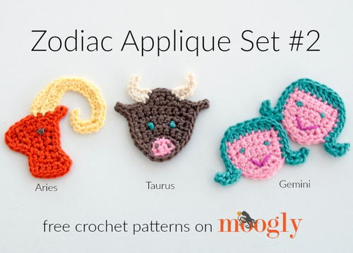 Crochet Zodiac Patterns : Zodiac Appliques: Aries, Taurus, Gemini AllFreeCrochet.com