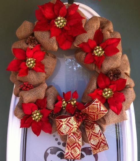 Poinsettia Burlap Wreath AllFreeChristmasCrafts