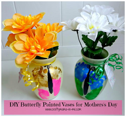 DIY Butterfly Painted Vases For Mothers Day