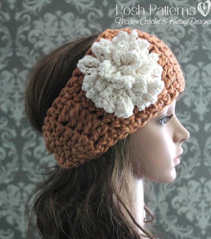 Large Crochet Flower Pattern For Headband : Headband & Loopy Flower Crochet Pattern AllFreeCrochet.com