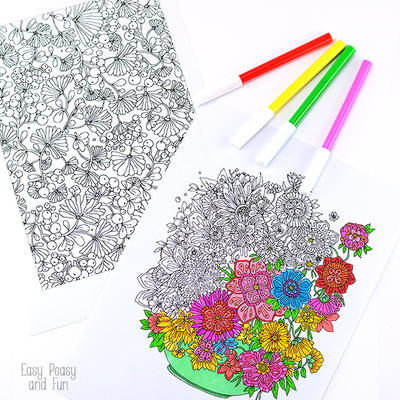 Summer Bouquet Coloring Sheets