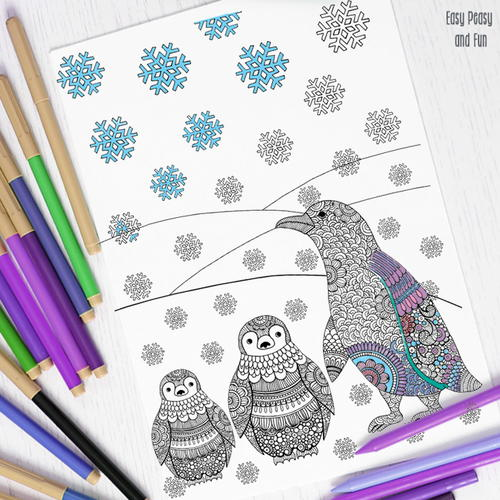 Peppy Penguin Adult Coloring Page