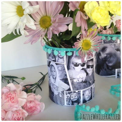 Moms Favorite Tin Can Photo Vase