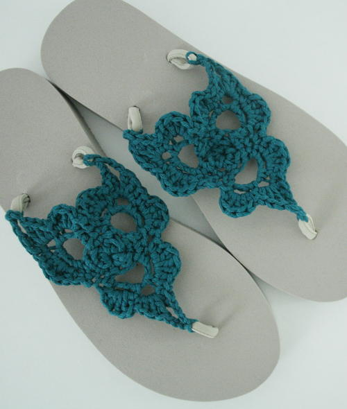 Crochet Patterns Using Flip Flops : Crochet Flip Flops AllFreeCrochet.com