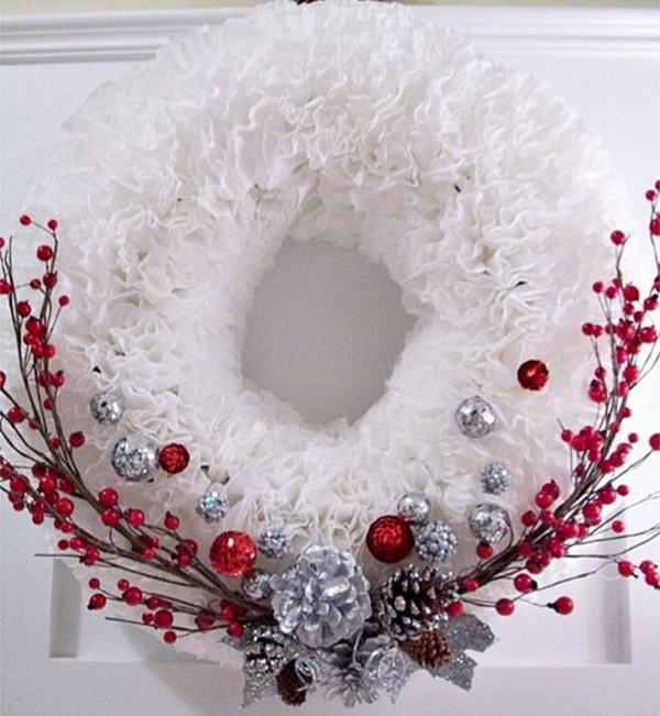 5 ways to decorate for christmas with coffee filters for How to decorate a christmas wreath