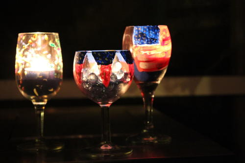 July 4th Glowing Wine Glasses