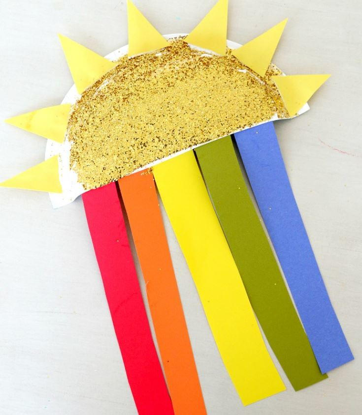 Sun And Rainbow Paper Plate Craft Allfreepapercrafts Com