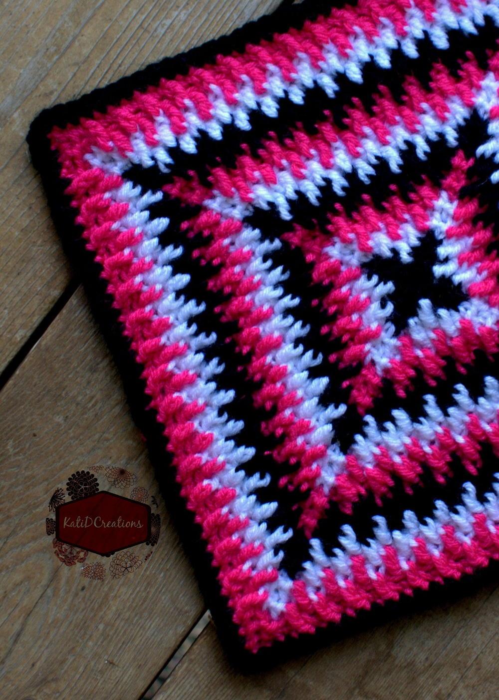 Crochet Patterns For Children s Blankets : Mosaic Ripples Granny Square AllFreeCrochet.com