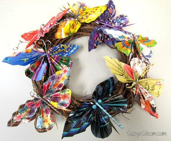 Recycled Paper Butterfly DIY Wreath | AllFreePaperCrafts.com