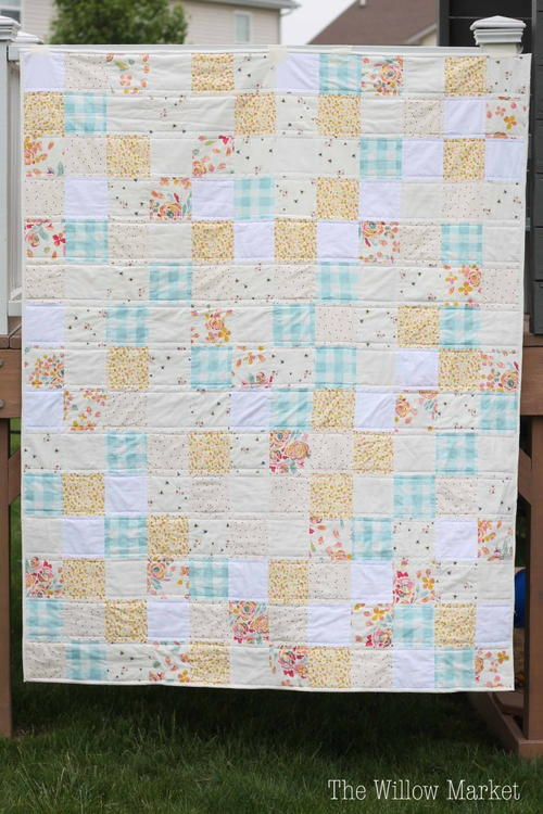 Simple Quilt Patterns Using Squares : Sweet and Simple Squares Quilt Pattern FaveQuilts.com