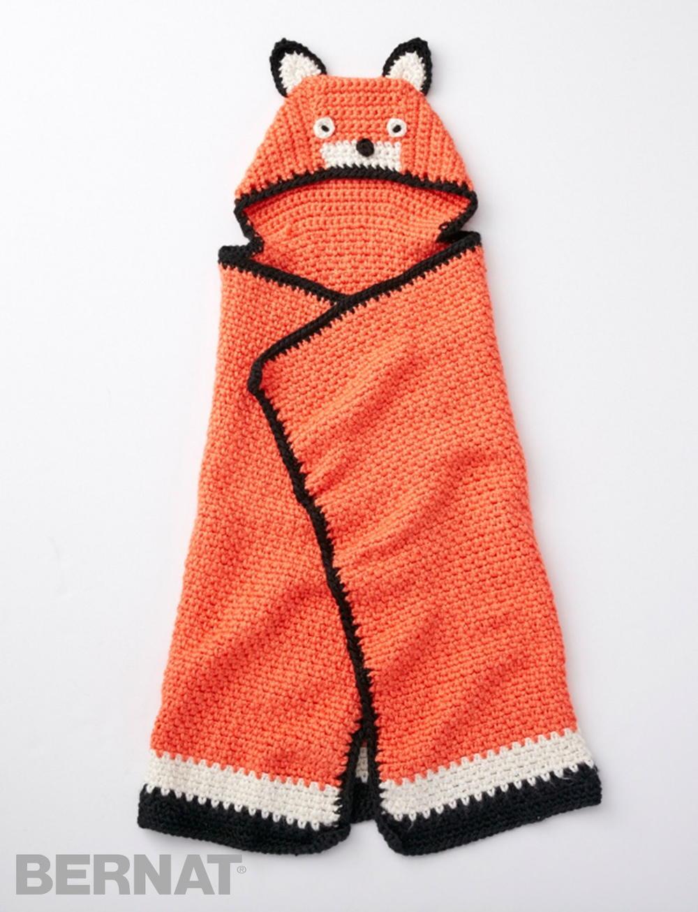 Like A Fox Hooded Baby Blanket Allfreecrochet Com
