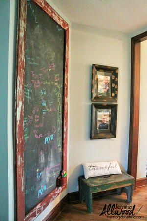 Distressed Wood Chalkboard Wall