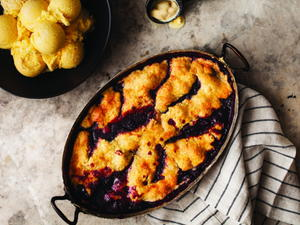 Blackberry Pandowdy with Buttermilk Frozen Custard