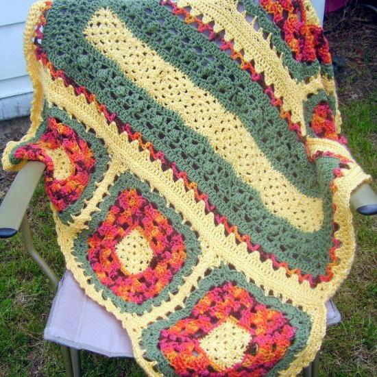 Crochet Flower Granny Square Blanket Pattern : Wildflower Crochet Granny Square Blanket ...