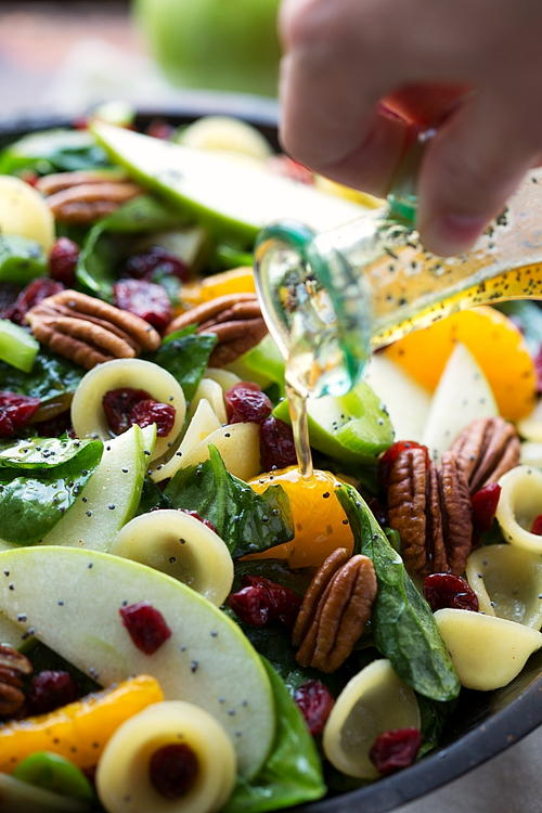 Autumn Crunch Pasta Salad with Dressing