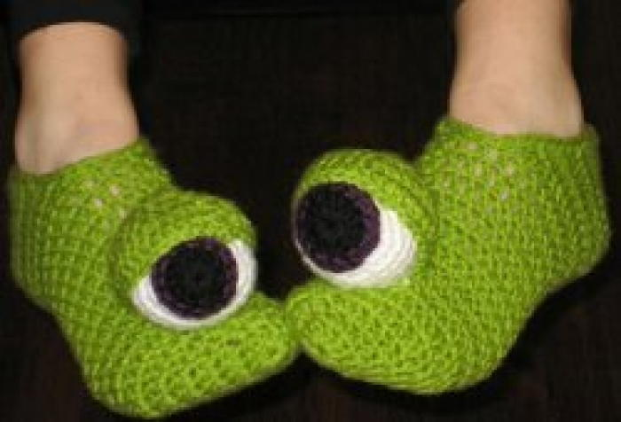 Free Crochet Pattern For Monster Slippers : Crazy Monster Eyes Slippers FaveCrafts.com