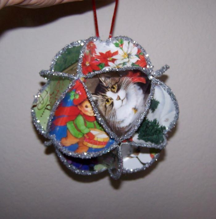 Folded greeting card homemade christmas ornament