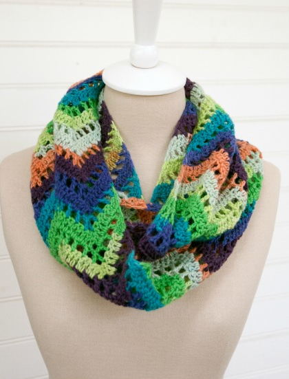 Crochet Pattern For Lacy Infinity Scarf : Chevron Lace Crochet Infinity Scarf AllFreeCrochet.com