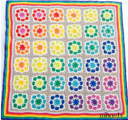 Free Crochet Pattern Rainbow Blanket : Magic Rainbow Crochet Blanket Pattern AllFreeCrochet.com