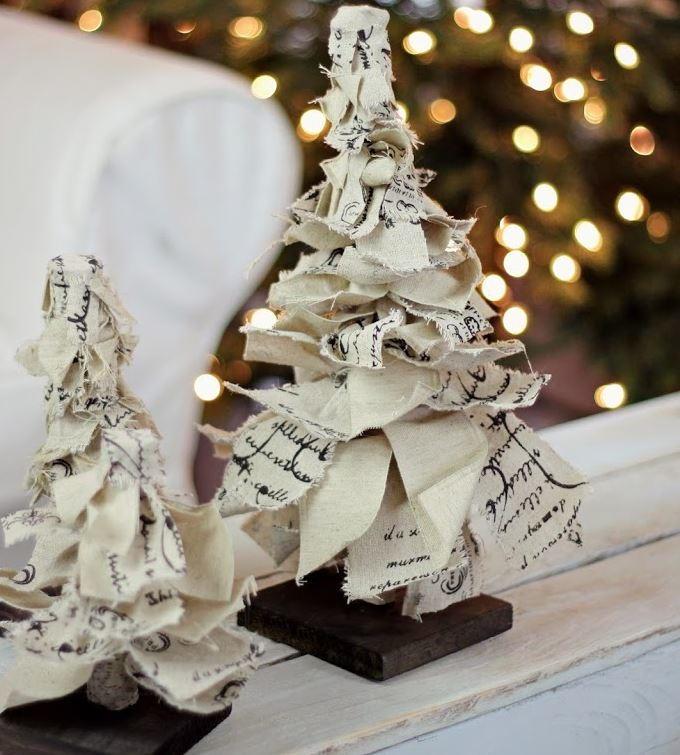 Christmas Trees Ribbon: Rag Ribbon Tabletop Christmas Trees