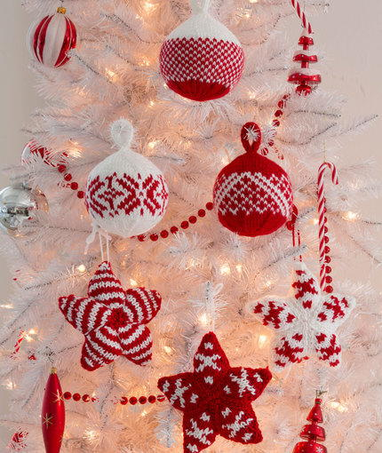 Merry Star And Ball Knit Ornaments