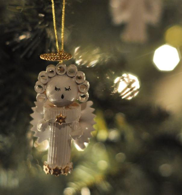 Pasta angel homemade christmas ornament for Angel of the north christmas decoration