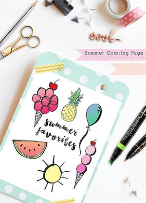 Summer Faves Coloring Page