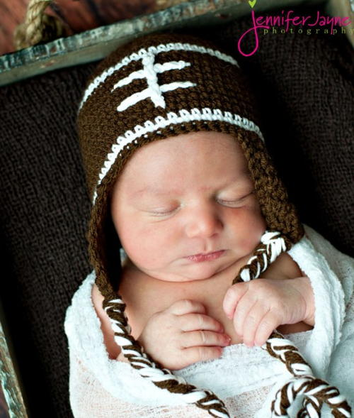 Football Crochet Baby Hat
