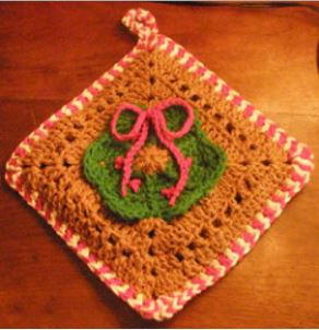 Candy Cane and Gingerbread Potholder