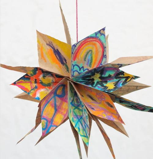Colorful paper bag star diy ornament for Christmas star craft ideas