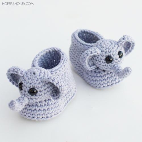 Ellie The Elephant Crochet Baby Booties | AllFreeCrochet com