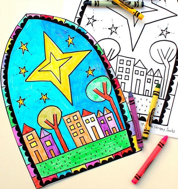 Faux Stained Glass Coloring Pages | AllFreeChristmasCrafts.com