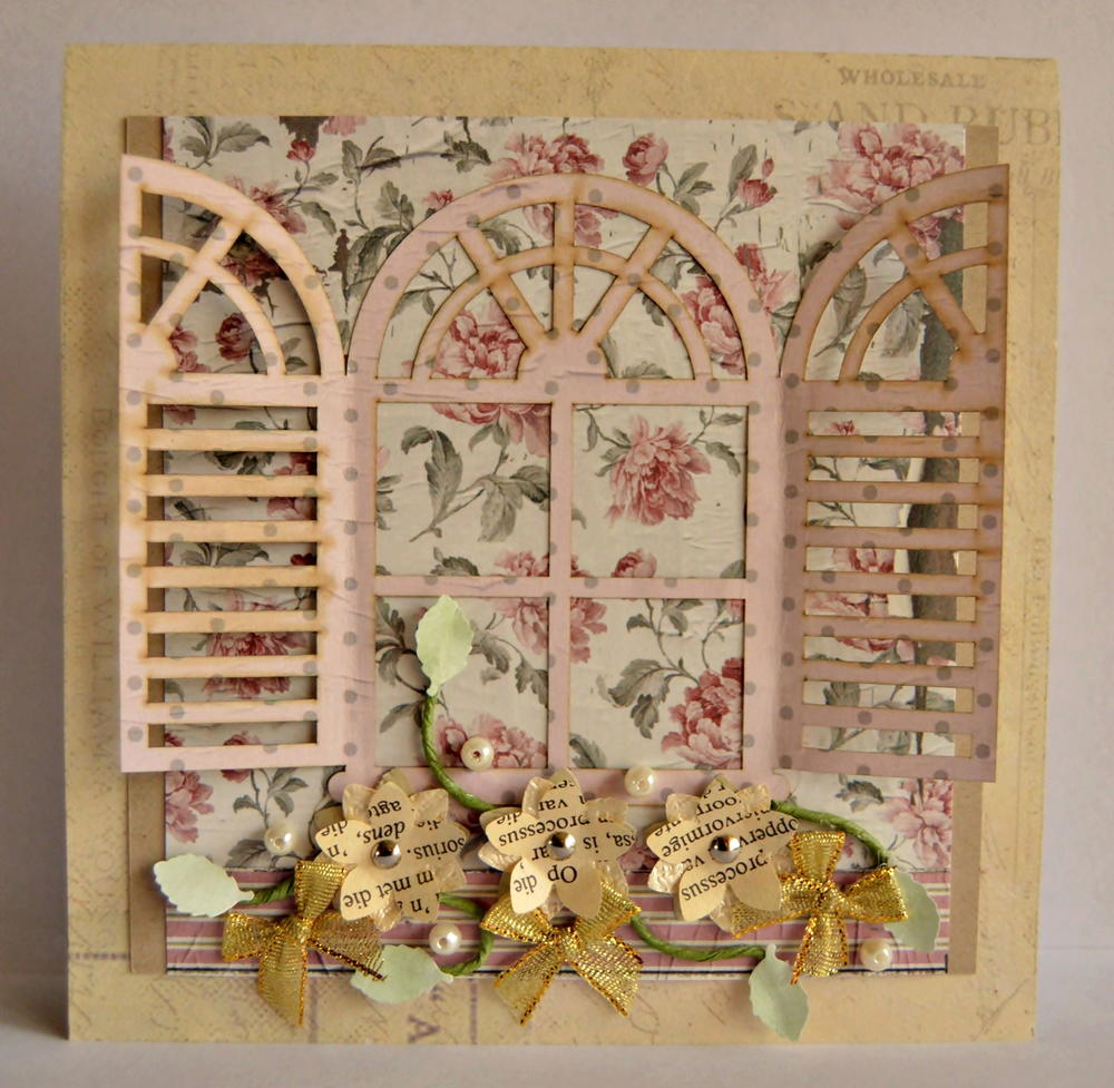 Vintage French Shutter Handmade Card Allfreepapercrafts Com